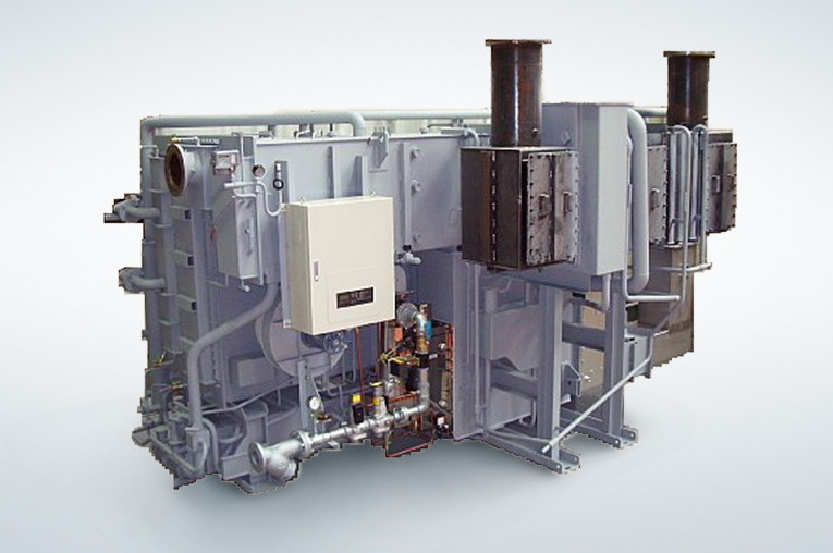 Exhaust gas + hot water type absorption chiller-heater